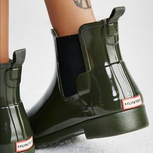 Hunter original refined Chelsea gloss short boots